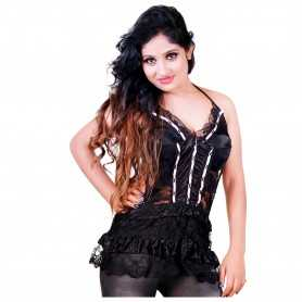Hot Sexy Black babydoll lace cake skirt Flowers nighty WLBD-002