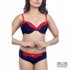 Red Lace Blue Polka Print Bikini Set WLBS-004