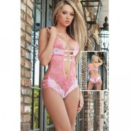 Hot lace White PinkTeddy lingerie with heart charms adorned straps loops