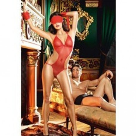 Hot Seductive 3 pc lovers set teddie lingerie with handcuffs and eye mask.