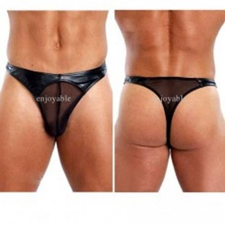 Classic Sexy Black Jarretelles Yummy Man Underwear MLGST-016